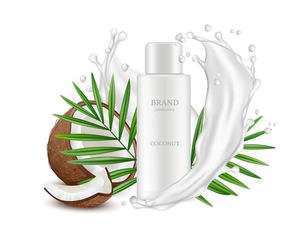 Noix de coco réaliste. bouteille de cosmétiques, feuilles de palmier et éclaboussures de lait.