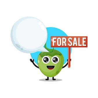 Noix de coco à vendre mascotte de personnage mignon