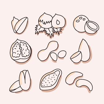 Noix, jeu d'icônes de fruits secs. tirage à la main