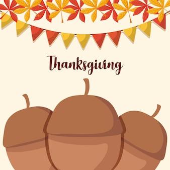 Noix pour le jour de thanksgiving avec des feuilles et des guirlandes