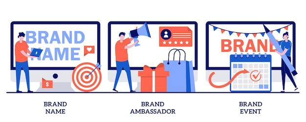 Nom de marque, ambassadeur, concept d'événement avec des personnes minuscules. ensemble d'illustration de construction de réputation d'entreprise. agence de dénomination, figure médiatique de marque, relations publiques, métaphore d'événement sponsorisé.
