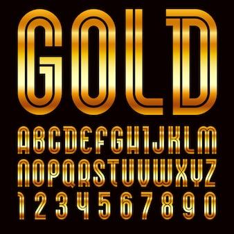 Nom de la police disco. alphabet branché, lettres lumineuses vecteur doré sur fond noir