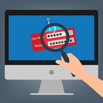 Nom d'utilisateur et mot de passe du hameçonnage du virus malware