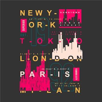 Nom de la ville célèbre conception de typographie graphique