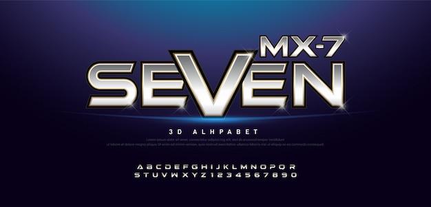 Nombre et alphabet en métal 3d élégant en argent et or 3d