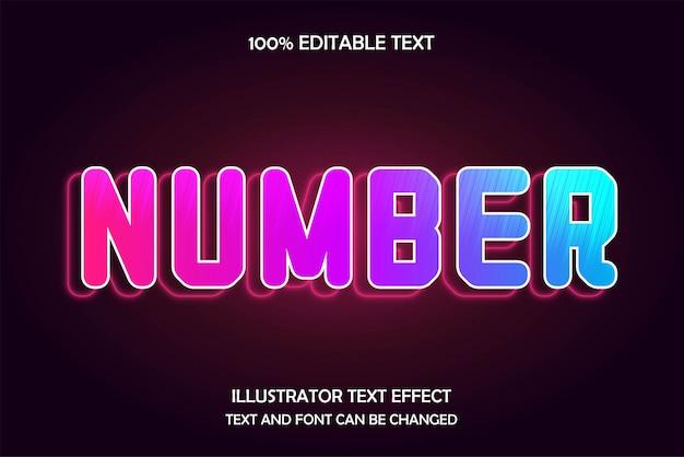 Nombre, effet de texte modifiable 3d style néon moderne