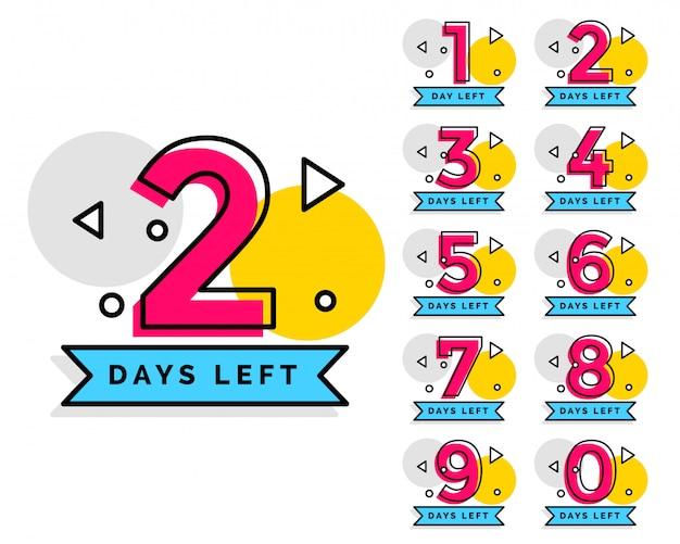 Nombre de jours restants badge pour la vente ou la promotion