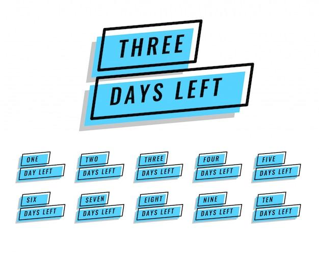 Nombre de jours restants bannière pour la vente et la promotion