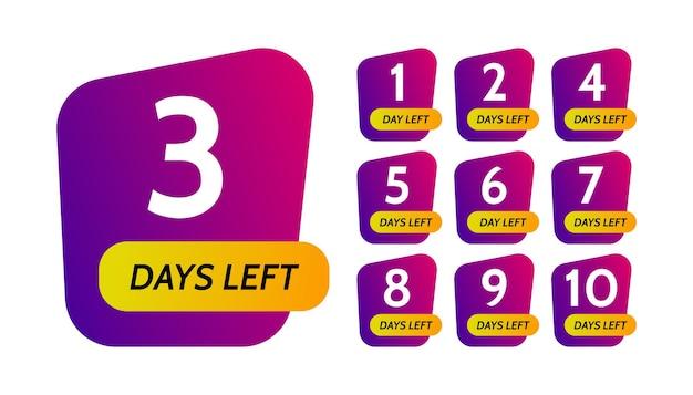 Nombre de jours restants. ensemble de dix bannières violettes avec compte à rebours de 1 à 10. illustration vectorielle