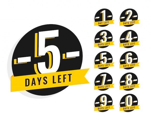 Nombre de jours restants symbole de la bannière promotionnelle