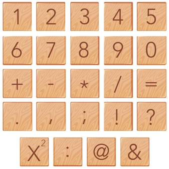 Nombre et math icône sur bloc de bois
