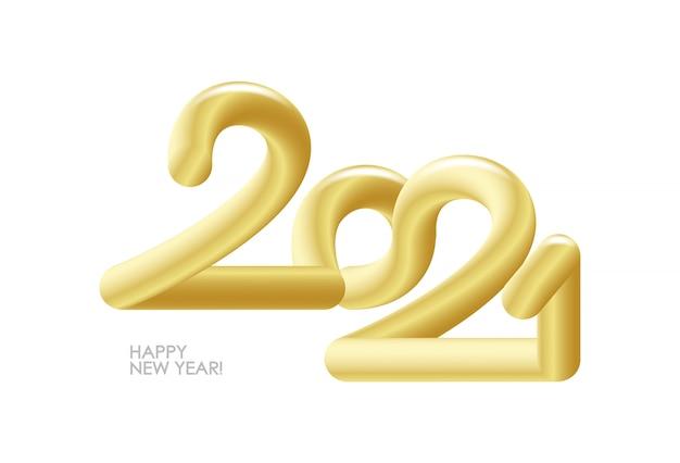 Nombre d'or 3d de vecteur de 2021. bonne année.