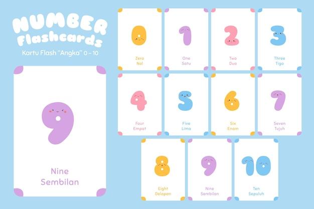 Nombre, zéro à dix, flashcards bilingues.