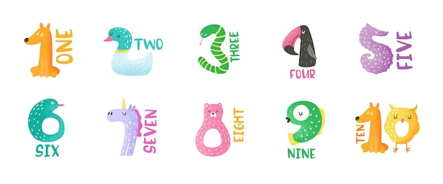 Nombres d'animaux mignons de 1 à 9 illustration vectorielle dessinés à la main pour autocollants, affiche de pépinière, carte d'invitation de bébé, flyer, salutations, art mural