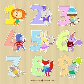 Les nombres avec bandes dessinées animales