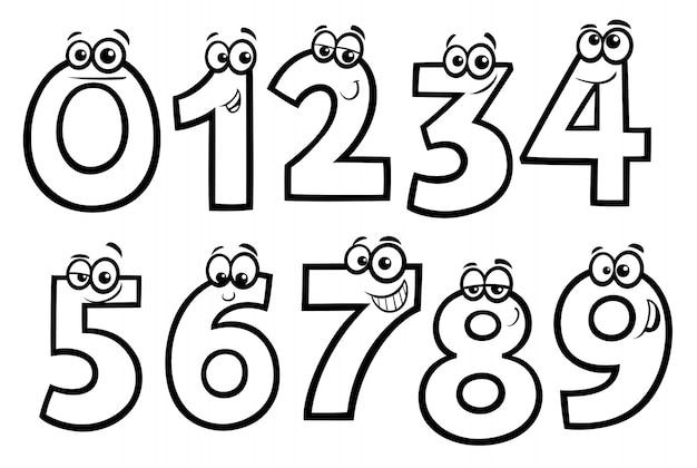 Nombres de base dessin animé ensemble de livres à colorier