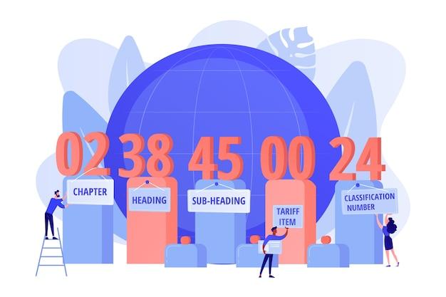 Les nombres signifient l'explication. classification du système harmonisé, service de classification des codes hts, concept de classification des marchandises de commerce international. illustration isolée de bleu corail rose