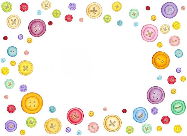 De nombreux boutons de couture colorés sur fond blanc