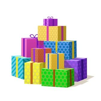 De nombreux coffrets cadeaux, montagne de cadeaux. illustration vectorielle