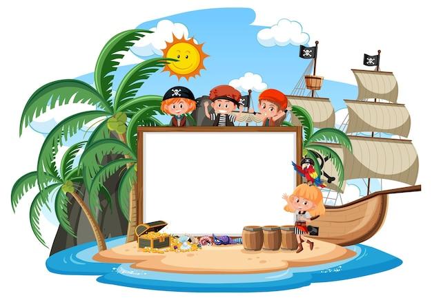 De nombreux enfants pirates sur l'île avec un modèle de bannière vierge isolé