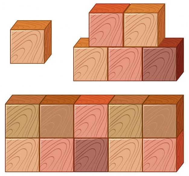 De nombreux morceaux de cubes en bois