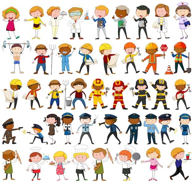 De nombreux personnages avec différentes illustrations de professions