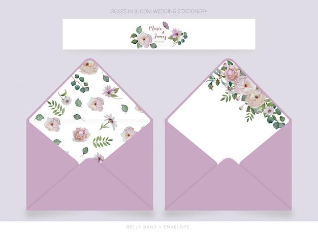 Nombril, modèle d'enveloppe avec fleurs dessinées à l'aquarelle