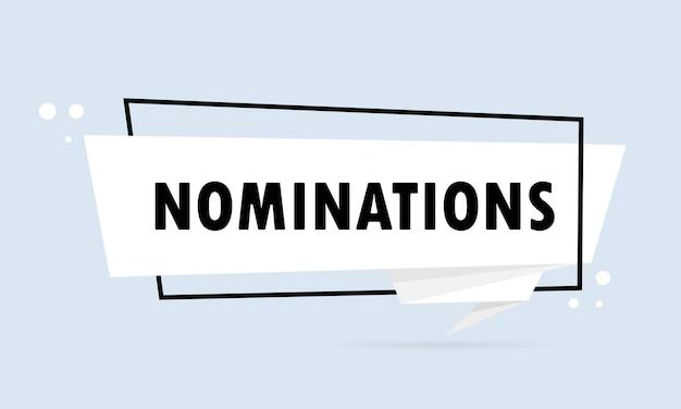 Nomination. bannière de bulle de discours de style origami. affiche avec texte nomination. modèle de conception d'autocollant. vecteur eps 10. isolé sur fond