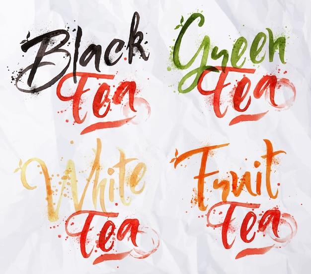 Noms dessinés de différentes sortes de thé, gouttes de thé noir, vert, blanc, fruit sur papier froissé