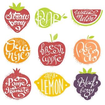 Noms de fruits dans un ensemble de cadres en forme de fruits