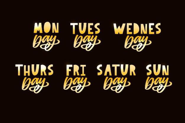 Noms des jours de la semaine lettrage de style de timbre inégal typographique grunge vintage pour votre calendrier ...
