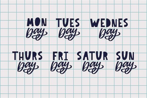 Noms des jours de la semaine lettrage de style de timbre inégal typographique grunge vintage