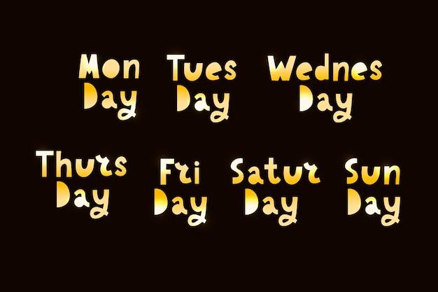 Noms des jours de la semaine, typographie grunge vintage, lettrage de style de timbre inégal pour vos conceptions de calendrier