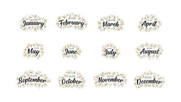 Noms manuscrits des mois de bienvenue avec lettrage