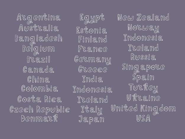 Les noms des pays du monde. pays européens. lettrage à la main.