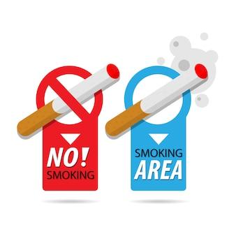 Non fumeur et zone fumeur. cigarette, insigne d'icône de risque d'incendie