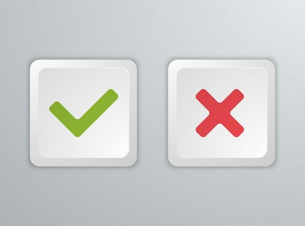 Non et oui boutons du clavier de l'ordinateur. icônes.