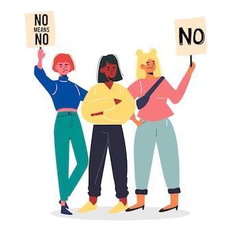 Non signifie non avec les femmes et le slogan