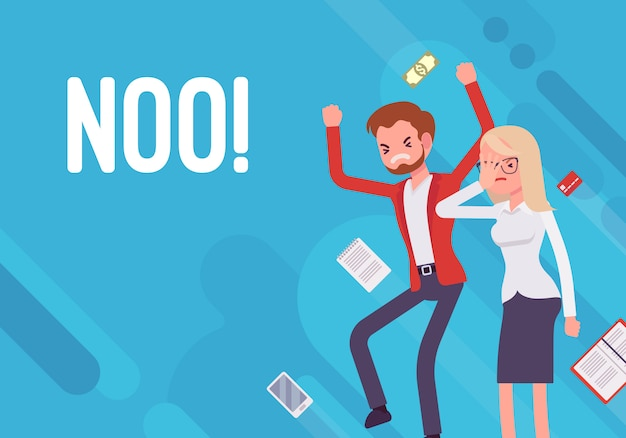 Noo. illustration de démotivation d'entreprise