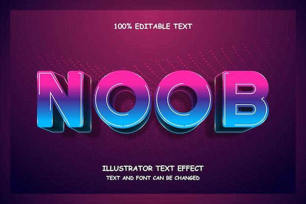 Noob, bleu dégradé magenta, effet de texte modifiable en 3d style moderne