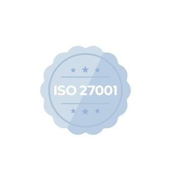 Norme iso 27001, badge vectoriel sur blanc