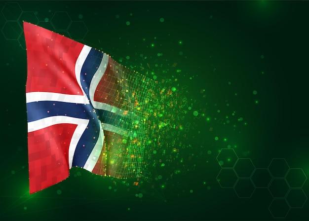 Norvège, drapeau 3d sur fond vert avec des polygones