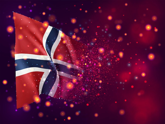 Norvège, drapeau 3d sur fond violet rose avec éclairage et fusées éclairantes