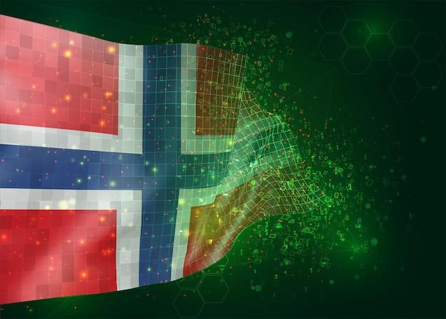 La norvège, sur le drapeau 3d vectoriel sur fond vert avec des polygones et des numéros de données