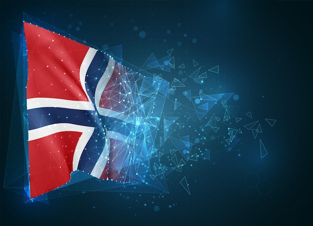 Norvège, drapeau, objet 3d abstrait virtuel de polygones triangulaires sur fond bleu