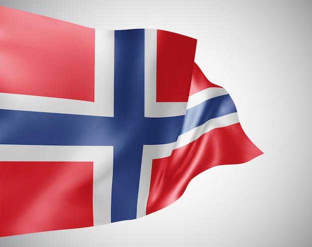 Norvège, drapeau vectoriel avec des vagues et des virages ondulant dans le vent sur fond blanc.