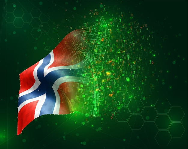 Norvège, vecteur drapeau 3d sur fond vert avec des polygones et des numéros de données