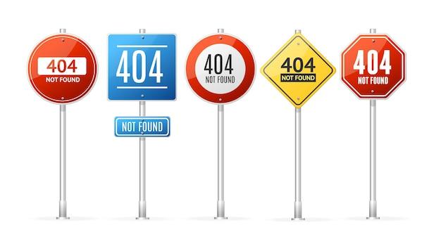 Not found erreur concept roadsign pole set. illustration vectorielle