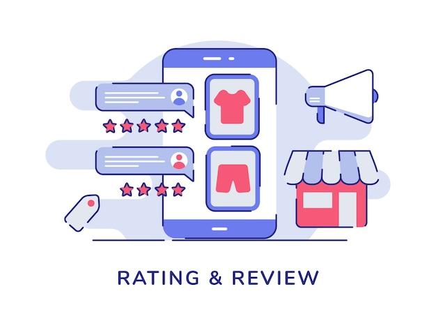 Notation et concept d'examen sur le commerce électronique de la boutique en ligne avec un style de contour plat