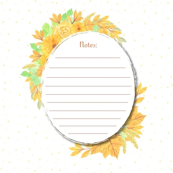 Note avec cadre floral jaune